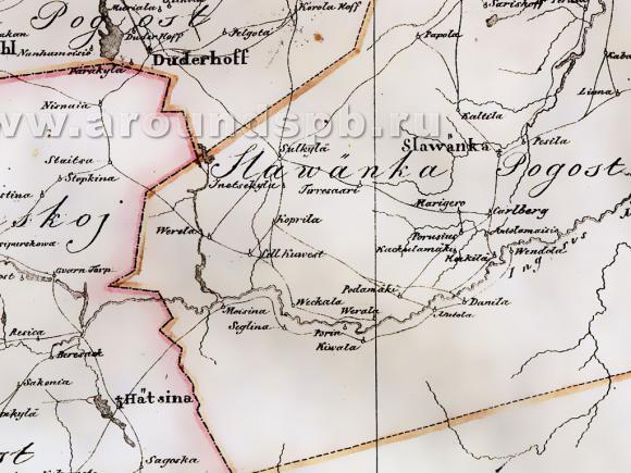 1676 - Карта Ингерманландии: Ивангорода, Яма, Копорья, Нотеборга