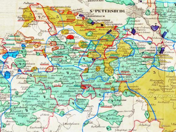 1849 - Этнографическая карта Санкт-Петербургской губернии