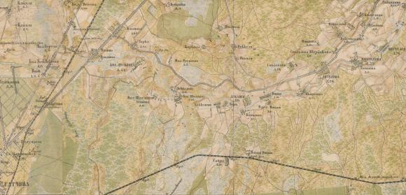 1890 - Карта С.-Петербургской губернии конца XIXв