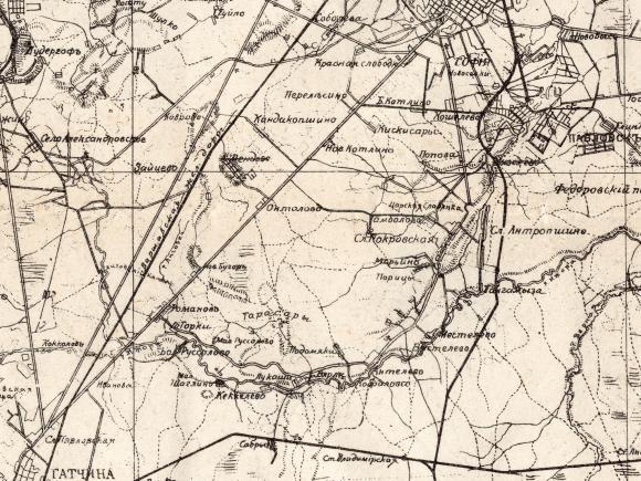1914 - Карта окрестностей С.-Петербурга