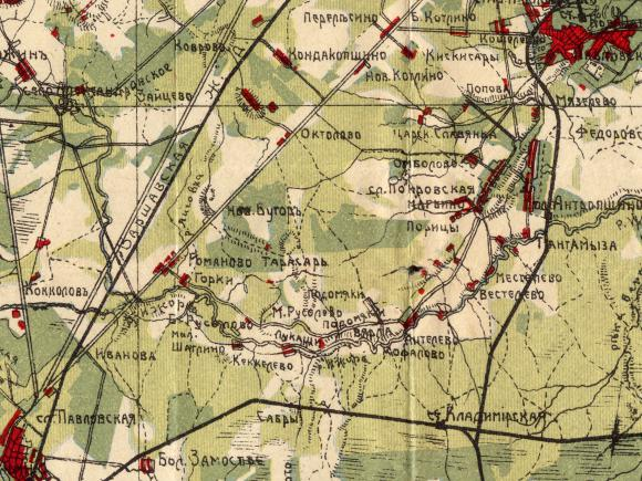 1915 - Карта окрестностей С.-Петербурга