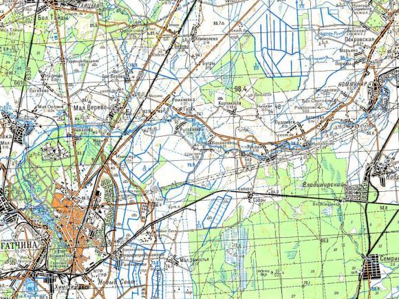 1984 - Карта Ленинградcкой области