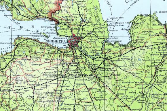 1939 - Большой Советский атлас мира. РСФСР.Ленинградская обл.
