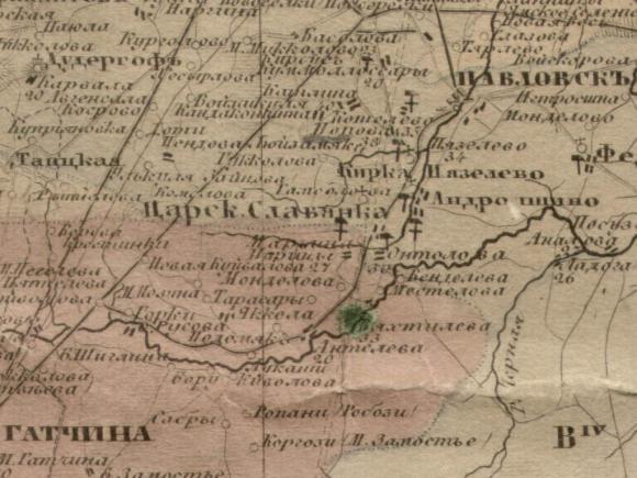 1852 - Карта Крепостей Гатчины
