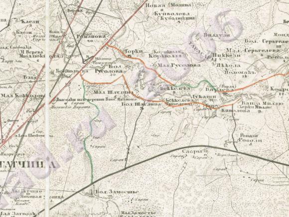 1879 - Карта окрестностей Гатчины