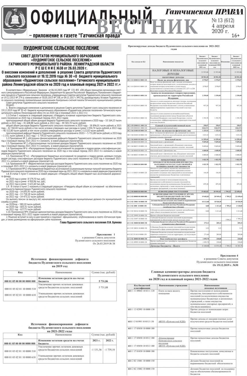Официальный вестник (приложение к Гатчинская правда) №13 от 4 апреля 2020 года