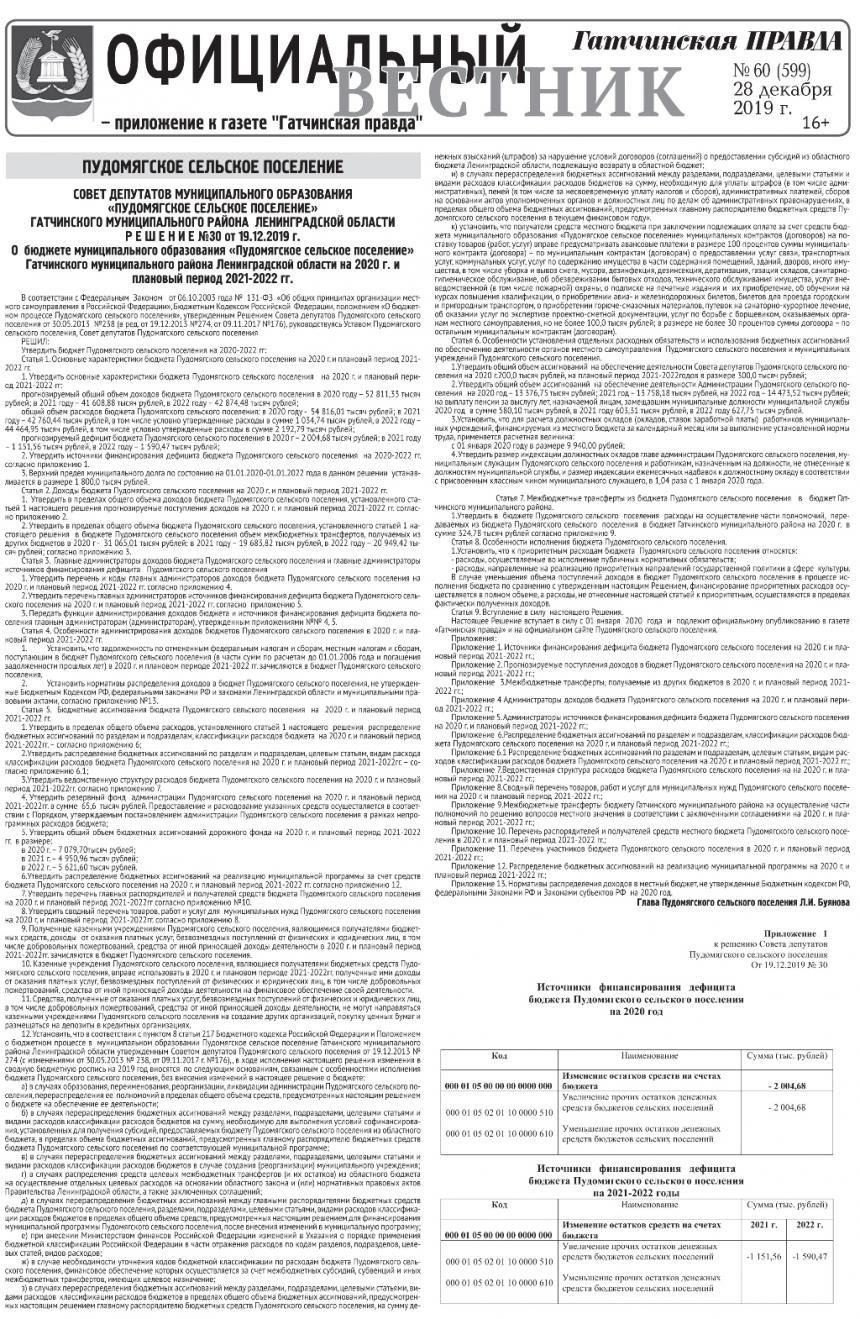 Официальный вестник (приложение к Гатчинская правда) № 60 (599) 28 декабря 2019 год