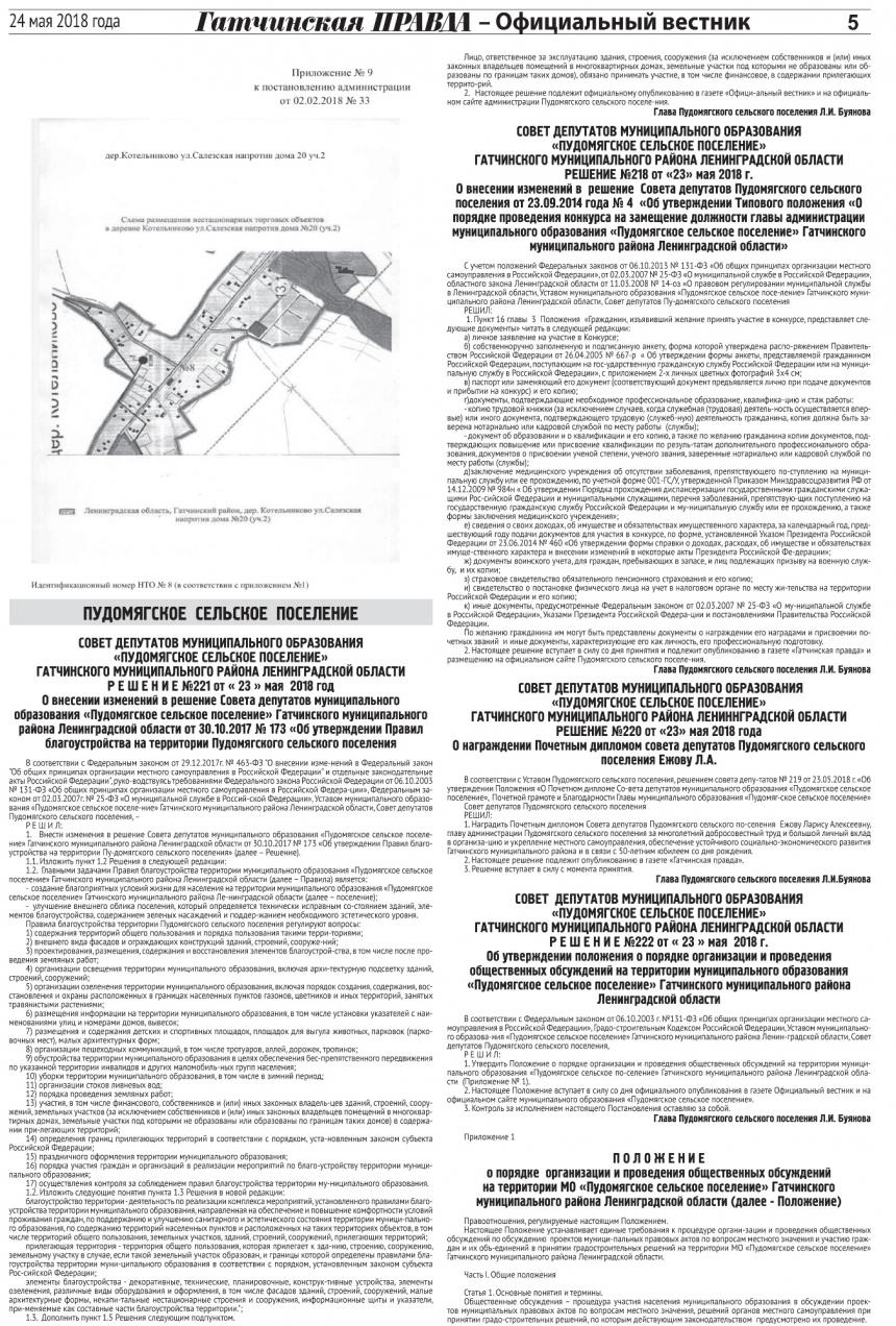 Официальный вестник (приложение к Гатчинская правда) №21 от 24 мая 2018 года